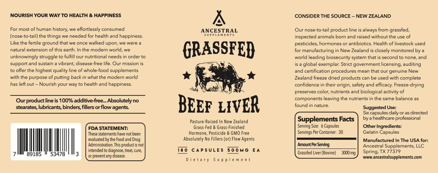 Grassfed Beef Liver Supplement Capsules